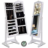HomeTech Mirror Jewelry Cabinet Tilting with Safe Lock and Keys Powerful Large Storage Capacity White