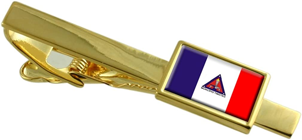 Timoteo City Minas Gerais State Flag Gold-tone Tie Clip Engraved Personalised