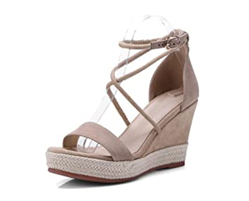 Chaussures 9cm Abricot, sandales compensées en paille, talons élastiques à  bout ouvert été, 85dcbd755bc1