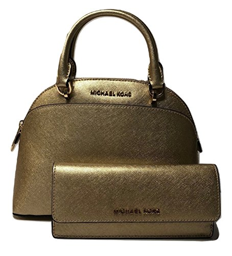 MICHAEL Michael Kors Emmy SM Dome Satchel bundle with Michael Kors Jet Set Travel Flat Wallet (Pale - Gold Michael Flats Kors
