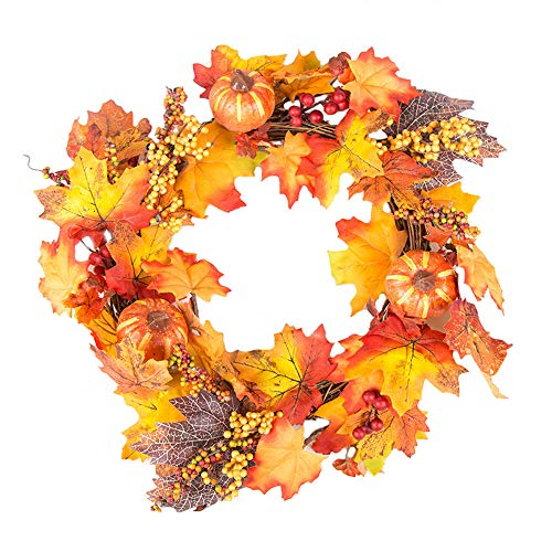 Large Size Door Wreath, Elevin(TM) 40CM Halloween Pumpkin Berry Maple Leaf Fall Door Wreath Door Wall Ornament (Z) by Elevin(TM) _ Home Decor & Kitchen