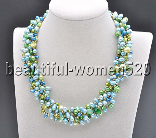 - X0490 Set 6Strds Rice Baroque FW Cultured pearl blue green necklace