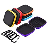 Sunmns 5 Pieces In Ear Earbud Earphone Headset Headphone Case Mini Storage Carrying Pouch Bag with Carabiners