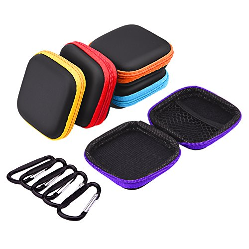 Sunmns 5 Pieces In Ear Earbud Earphone Headset Headphone Case Mini Storage Carrying Pouch Bag with Carabiners Earphones Carrying Case