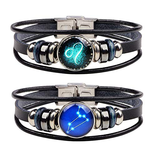 (Chaimi Punk Retro Alloy 12 Constellation Leather Bracelet Handmade Braided Zodiac Bangle for Men 2 Piece Set(Leo))