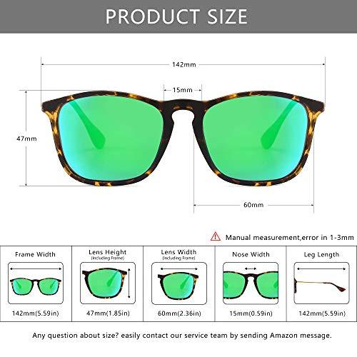 SUNGAIT Classic Square Frame Sunglasses Retro Style for Men Women (Tortoise Frame/Polarized Green Mirror Lens, 54) Composite Frame 1509PGHPKLV