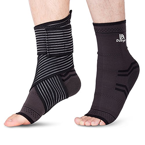 : DUERGER Plantar Fasciitis Socks & Elastic Compression Bandage Wrap Set: Anti-Fatigue Medical Sock Sleeve/ Heel Arch Support Socks For Cramps Relief, Compression Foot Sleeves To Prevent All Foot Pain