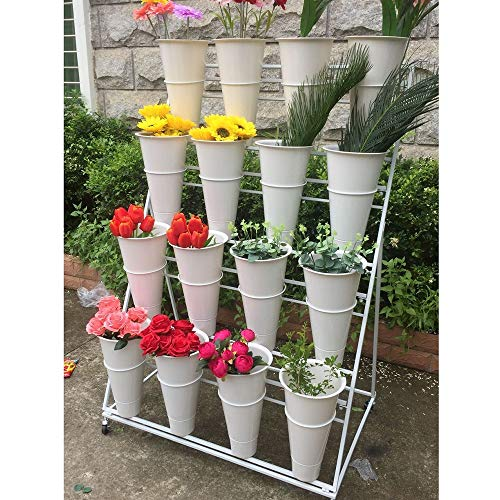 3 Layers Flower Stand Wrought Iron Balcony Garden Flower Shop Plant Stand, Garden Gardener Gift, 12 Flower Bucket Display Stand