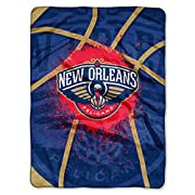 The Northwest Company Officially Licensed NBA New Orleans Pelicans Shadow Play Plush Raschel Throw Blanket, 60  x 80
