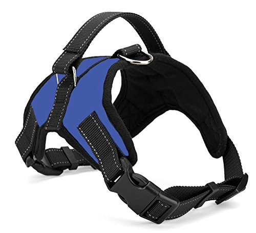 Xanday No Pull Dog Vest Harness, Reflective Dog Body Padded Vest with Handle, Adjustable Dog Walking Harness Comfort Control for Small Medium Large Dogs (S, Blue)