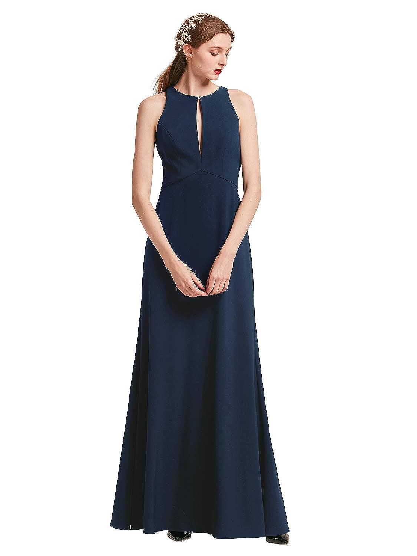 Dark Navy Alicepub Halter Evening Gowns for Women Keyhole Formal Dresses Elegant Special Occasion Dress