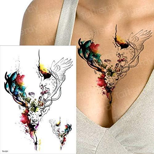 tzxdbh Tatuaje y Arte Corporal Tatuajes de Alces Color de Agua ...