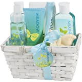 Meadow Bath Gift Set in Wicker White Basket, Shower Gel,Bubble Bath, Bath Salt,Body Lotion,Body Spray,Bath Fizzer