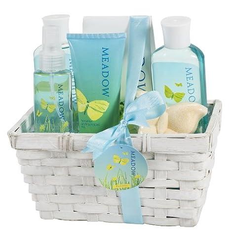 Meadow Bath Gift Set in Wicker White Basket, Shower Gel,Bubble Bath, Bath Salt,Body Lotion,Body Spray,Bath - Energy Gift Basket