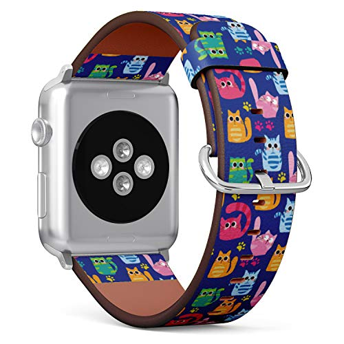 (Cute Cartoon Cat and Paws Pattern) Patterned Leather Wristband Strap for Apple Watch Series 4/3/2/1 gen,Replacement for iWatch 42mm / 44mm Bands