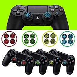 2 Pairs Blue Crown Silicone Thumb Stick Grip Cap Cover for PS4 Xbox One Controller