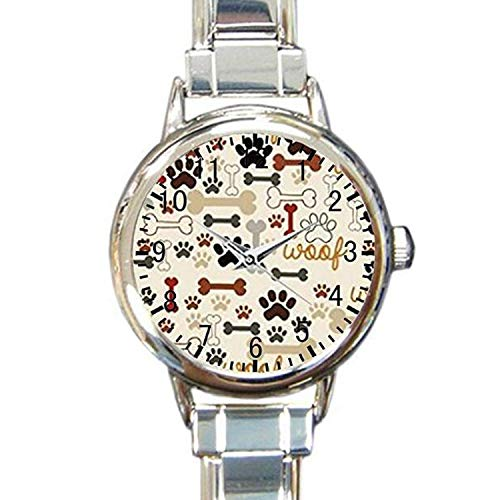 (Dog Paws and Bones Custom Womens Round Charm Bracelet Wrist Watch)