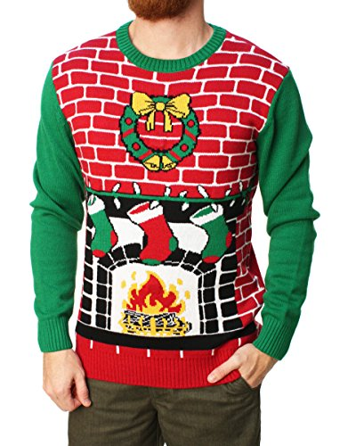 Light Up Christmas Sweaters - Ugly Christmas Sweater Men's Fireplace Is