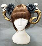Gothic Lolita Devil Horns Headwear Skull Hairpin Black Rose Bow Claw Steampunk Halloween Hair Clip Katoot