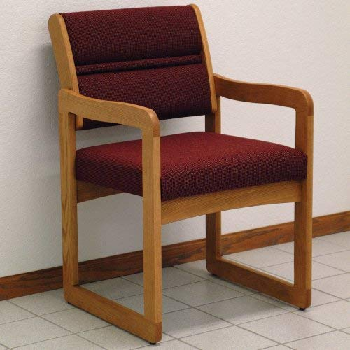 Wooden Mallet Sled-Base Valley Guest Chair, Medium Oak, Cabernet Burgundy