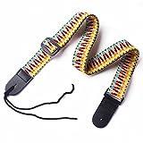 UBETA Hootenanny Style Rainbow Adjustable 100%Cotton & Genuine Leather Straps for Guitar Ukulele C2