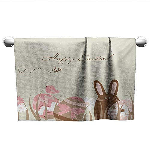 alisoso Easter,Camping Towels Pastel Toned Eggs Birds and Bunny on a Polka Dotted Background Seasonal Holiday Fade-Resistant Multicolor W 24