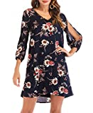 NALATI SUNNOW Women's V Neck Cold Shoulder Floral Print Long Open Sleeves Casual Shift Dress (S(US4-6), Navy Blue)