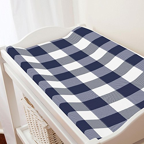 Carousel Designs Navy and White Buffalo Check Changing Pad Cover - Organic 100% Cotton Change Pad Cover - Made in The USA