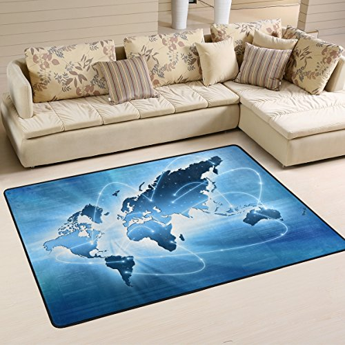 Stylish Internet Concept of Blue World Map Area Rugs Pad Non-Slip Kitchen Floor Mat for Living Room Bedroom 4' x 6' Doormats Home Decor (Internet Map)