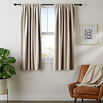 AmazonBasics Room Darkening Blackout Window Curtains with Tie Backs Set, 42