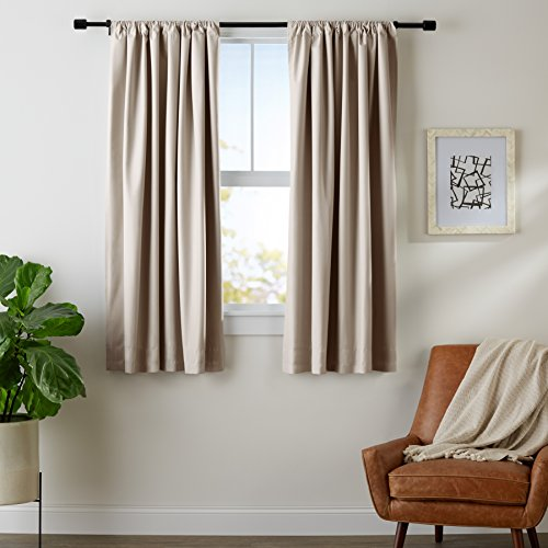 AmazonBasics Blackout Curtain Set - 52 x 63, Taupe