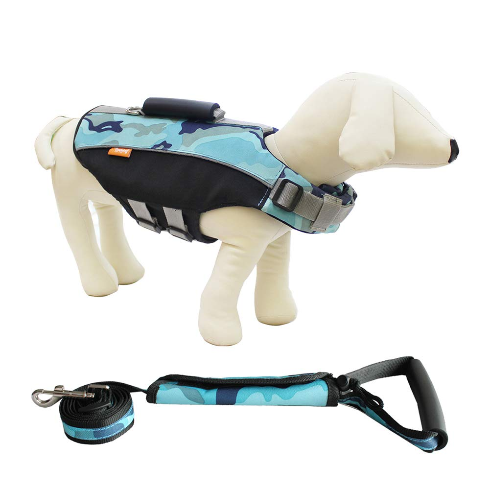 bluee X-Large bluee X-Large Dog Life Jacket for Swiming,Dog Safety Life Coat D Buckle Design with Leash Rope Explosion-Proof Chest Back 3 in 1 Large Buoyancy Reflective Strip,bluee,XL