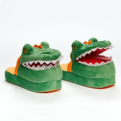 Stompeez Animated Dinosaur T-Rex Plush Slippers - Ultra Soft and Fuzzy - Mouth Opens and Closes as You Walk - Medium Green ()