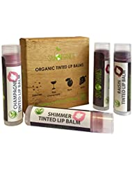 Organic Tinted Lip Balm by Sky Organics – 4 Pack Assorted...