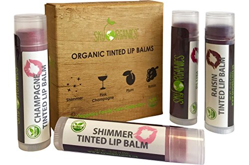 Organic Tinted Lip Balm by Sky Organics - 4 Pack Assorted Colors -- With Beeswax, Coconut Oil, Cocoa Butter, Vitamin E- Minty Lip Plumper for Dry, Chapped Lips- Tinted Lip Moisturizer. Made in USA