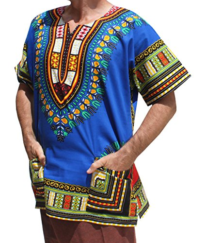 RaanPahMuang Unisex African Bright Dashiki Cotton Shirt Variety Colors, Small, Iris Blue
