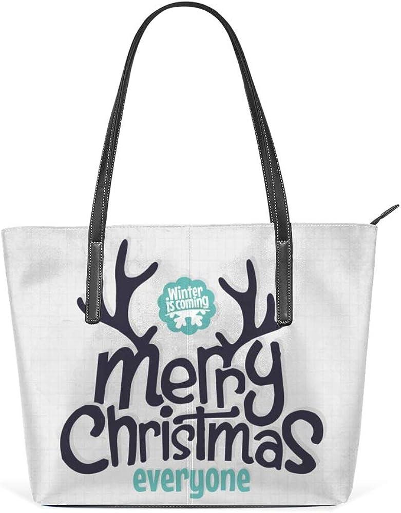 Zhongji Tote Handbag Women PU Leather Fashion Zipper Shoulder Bag Large Capacity Merry Christmas Day