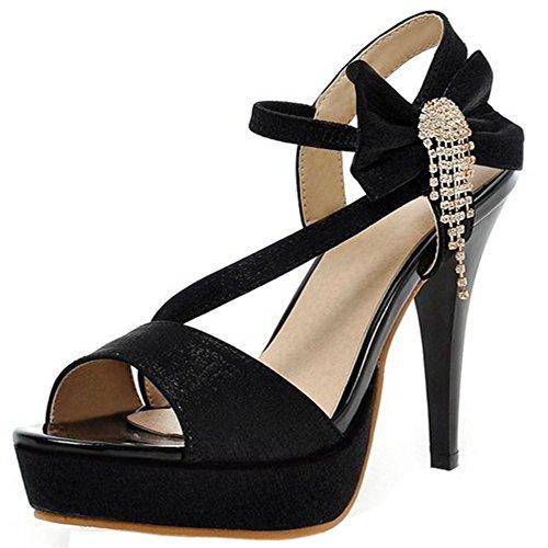 TAOFFEN Women Elegant Platform Thin High Heel Sandals Peep Toe Slingback Shoes with Bow Black go2S3qK