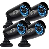 Night Owl Security 4 pack of Indoor/Outdoor 720p Security Bullet Cameras with 100ft. of Night VisionOnly compatible with AHD Series DVRs