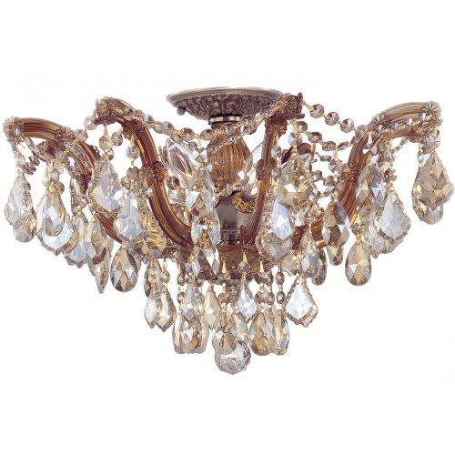 Crystorama Lighting 4437-AB-GTS Semi Flush Mount with Golden Teak Swarovski Elements Crystals, Antique Brass by Crystorama - Crystal Teak Swarovski