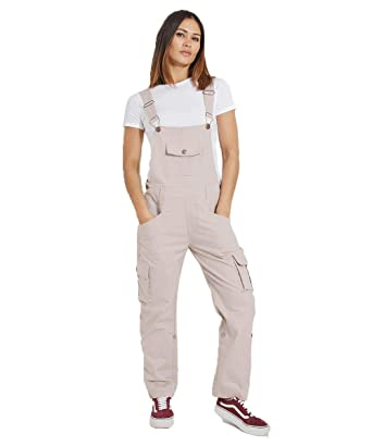 f01337cf3373 Uskees Womens Dungarees - Beige Relaxed fit Roll-up Leg Cotton Bib-Overalls  DAISYPORPOISE  Amazon.co.uk  Clothing