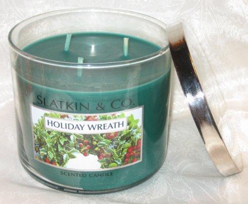 Bath & Body Works Slatkin & Co HOLIDAY WREATH 3-wick Candle 14.5oz (Slatkin Candles Harry)