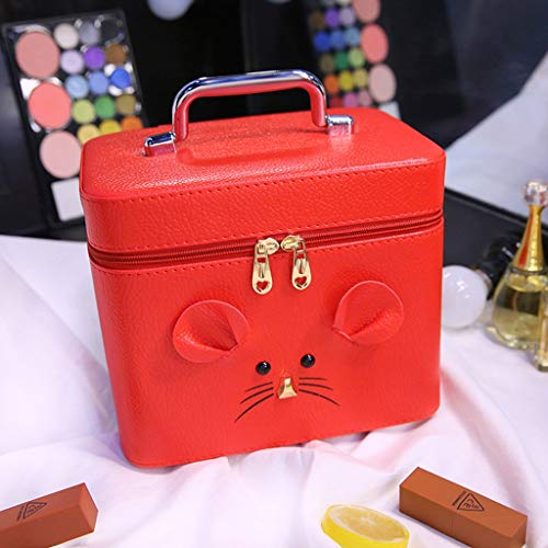 XIAOD Leather Cosmetics Display Box, Mouse Avatar Double Bathroom Cosmetics Organizer Travel Cosmetic Bag Will Train Train Cosmetic Case Travel Bag with Mirror Cosmetics Wash Box,Red ()