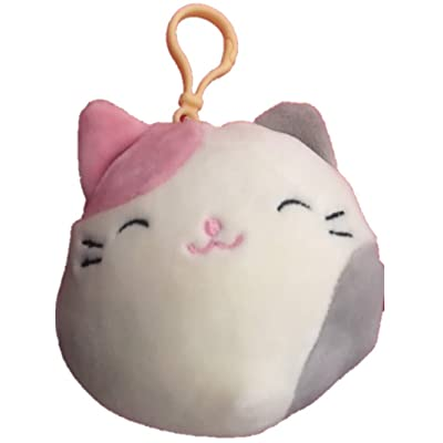 Squishmallows Kellytoy Karina The Cream, Pink, Grey Cat 3.5 in Clip On Plush Stuffed Toy: Toys & Games