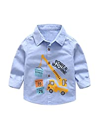 Evelin LEE Baby Boys Long Sleeve Cartoon Button Down Woven Shirt