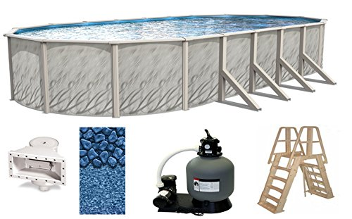 Wilbar Meadows 18 Foot x 33 Foot x 52 Inch Oval Above-Ground Complete Swimming Pool Kit-Bundle Includes Liner Skimmer Ladder Pump and Filter