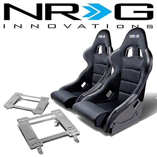 Third Gen Firebird (NRG FRP-311 Pair of Fiber Glass Bucket Racing Seat (Black)+Mounting Bracket for Pontica Firebird 3rd Gen)