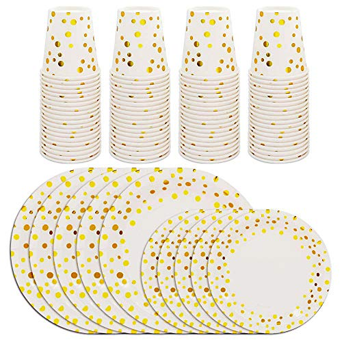 BAKHUK Gold Dot Disposable Wedding Paper Plates and Cups Set For 60, Gold Metallic Foil 60 Dinner Plates 60 Dessert Plates and 60 Cups for Bridal Baby Shower Wedding Birthday Party for $<!--$24.99-->