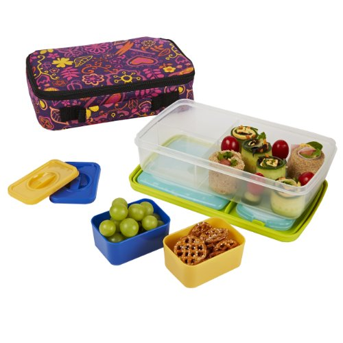 fit fresh bento box lunch kit with reusable bpa free removable plastic containers insulated. Black Bedroom Furniture Sets. Home Design Ideas
