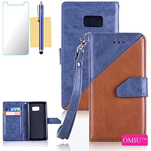 Galaxy S7 Case,S7 Case,OMIU(TM) Premium PU Leather Stitching Fabric Patterns Design Card Slots Stand Wallet Case for Samsung Galaxy S7-(Deep Blue+Brown) Sales